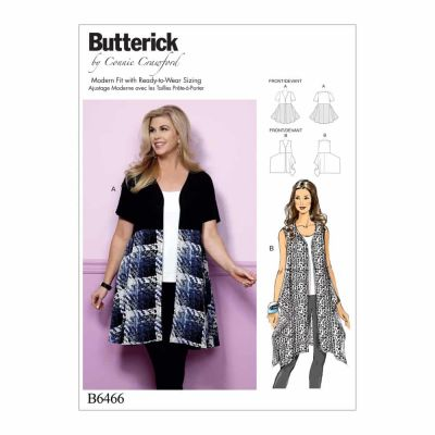 Butterick Sewing Pattern B6466 Misses'/Women's Open-Front, Flared Tunics
