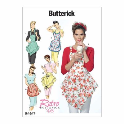 Butterick Sewing Pattern B6467 Ruffled Full or Half Aprons