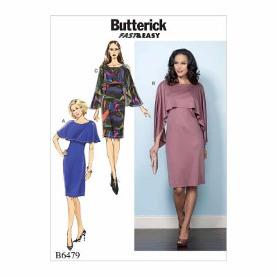 Butterick Sewing Pattern B6479 Misses' Pullover Dresses with Attached Capelets