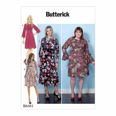 Butterick Sewing Pattern B6481 Misses'/Women's Dresses with Set-In Waistband, and Bodice and Sleeve Options