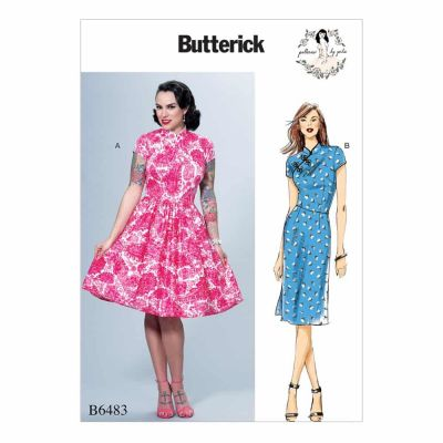 Butterick Sewing Pattern B6483 Misses' Dresses with Mandarin Collar and Skirt Options
