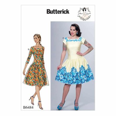 Butterick Sewing Pattern B6484 Misses' Square-Neck, Dropped-Waist Dresses and Petticoat Ruffle