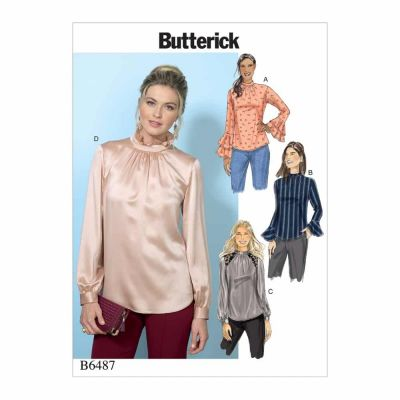 Butterick Sewing Pattern B6487 Misses' Tops with Gather-Detail Mock-Neck, and Sleeve Variations