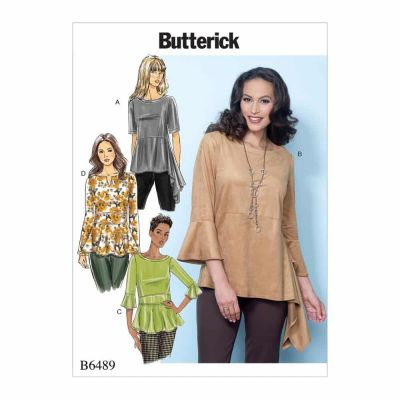 Butterick Sewing Pattern B6489 Misses' Pullover Tops with Sleeve and Peplum Variations