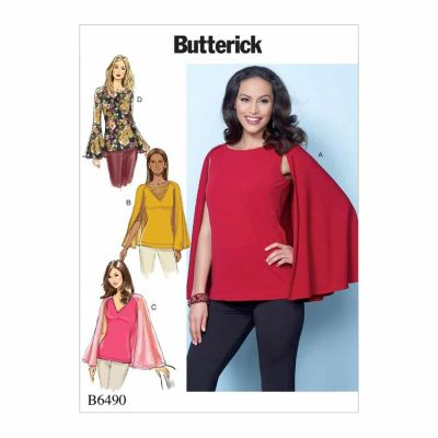 Butterick Sewing Pattern B6490 Misses' Tops with Attached Cape and Sleeve Variations