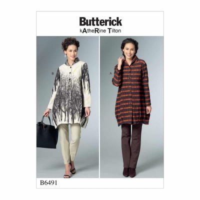 Butterick Sewing Pattern B6491 Misses' Loose Shirts with Stand Collar, Shaped Hem and Tucks