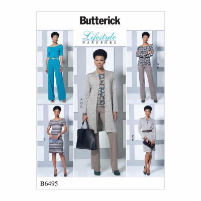 Butterick Sewing Pattern B6495 Misses' Knit Off-the-Shoulder Top, Dress and Jumpsuit, Loose Jacket, and Pull-On Pants