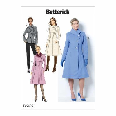 Butterick Sewing Pattern B6497 Misses'/Misses' Petite Jacket and Coats with Asymmetrical Front and Collar Variations