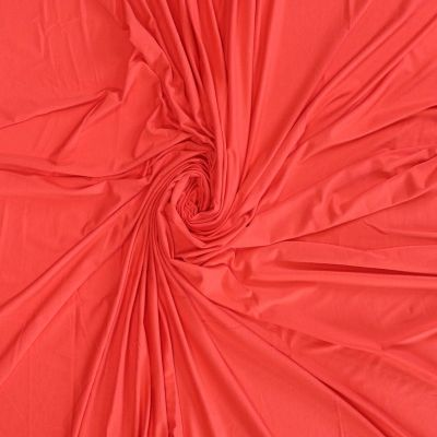 Remnant -Solid Colour Bamboo Jersey Fabric - Coral - 146cm x 160cm - Bolt End