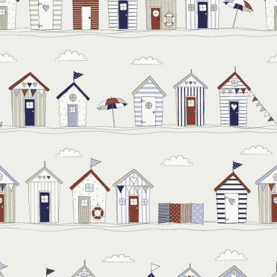Seaside Beach Huts - Blue - Curtain Fabric