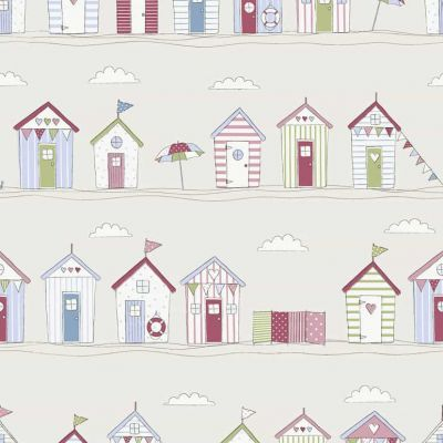 Seaside Beach Huts - Pink - Curtain Fabric