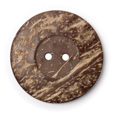 Round Coconut Shell Button - Natural - 50mm / 80L