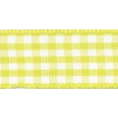 Gingham Ribbon 10mm Lemon