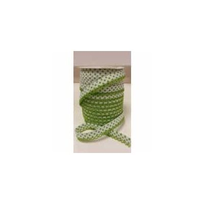 Remnant - 12mm Bias Binding Double Folded Lace Edged White With Lime Green Polka Dots - 5 Metre LENGTH