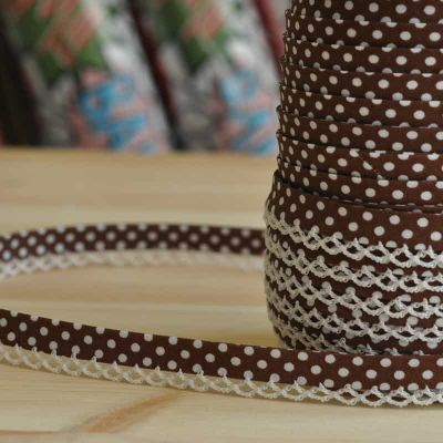 12mm Bias Binding Double Folded Lace Edged Chocolate With White Polka Dots