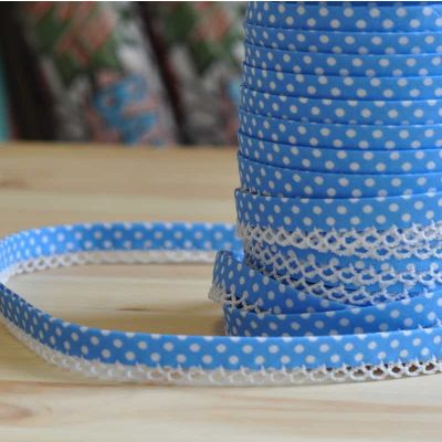Remnant - 12mm Bias Binding Double Folded Lace Edged Turquoise With White Polka Dots - 5 Metre LENGTH