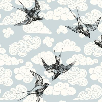 Stretch Cotton Jersey Knit - Sea Birds On Grey