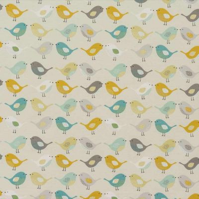 Laminated Cotton - Birds - Ochre