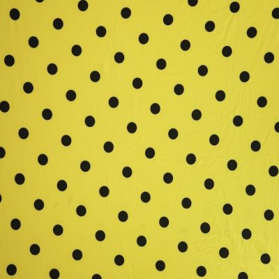 Remnant -Stretch Cotton Spandex Jersey Knit - Black Dots On Yellow - 21 x 150cm - Mark