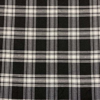 Polyester Viscose Tartan Fabric - Black And White