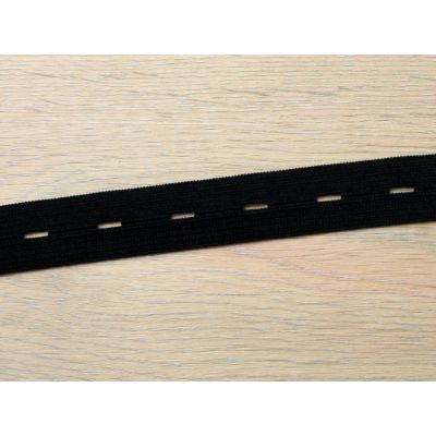 Remnant - Black Buttonhole Elastic 20mm - 140cm LENGTH