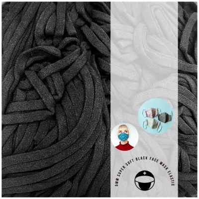 Super Soft Face Mask Elastic - 5mm Wide Round Lycra - Black