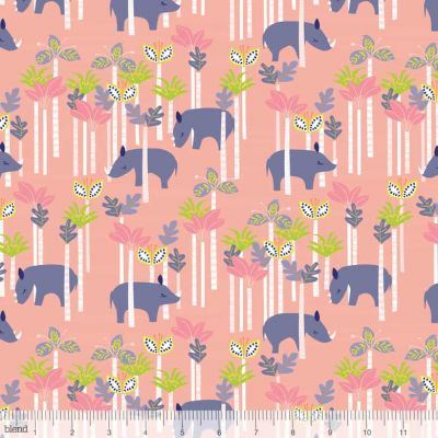 Blend Sundaland Jungle Rhinos Pink Cut Length