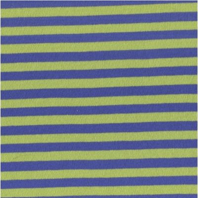 Remnant - Stretch Cotton Interlock Jersey Knit - Blue And Green 7mm Stripes - 1m x 145cm