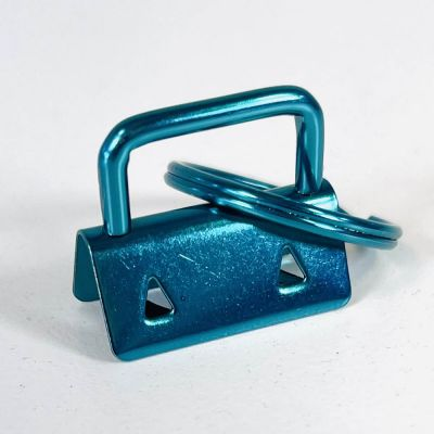 Key Ring - Metal Key Fob Hardware Clasp With Split Ring - 25mm - Blue Colour