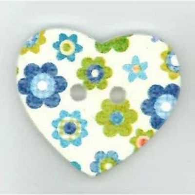 Heart Shaped Blue Floral Wooden Button 2 Hole 25mm