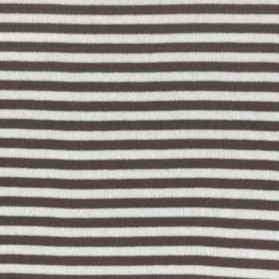 Stretch Cotton Interlock Jersey Knit - Brown And White 7mm Stripes