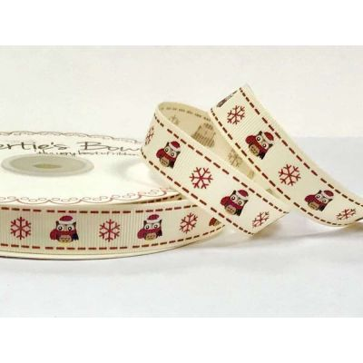 Berties Bows - Owls And Snowflakes On Ivory Grosgrain Christmas Ribbon - 16mm Wide