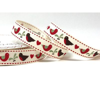 Berties Bows - Robin And Mistletoe On Grosgrain Christmas Ribbon - 16mm Wide