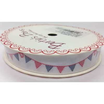 Navy and Red Bunting Ivory Ribbon 3 metre roll