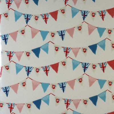 Country Bunting - Blue - Curtain Fabric