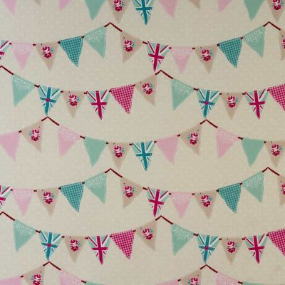 Country Bunting - Pink - Curtain Fabric