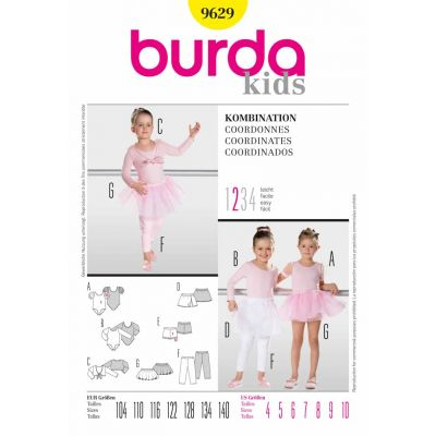 Remnant -Burda Sewing Pattern - 9629- Size 4-10 - End of Line