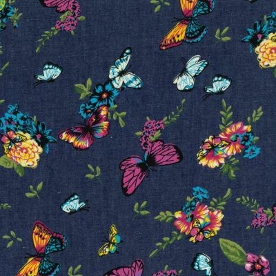 100% Cotton Chambray Fabric - Butterflies