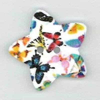 Butterfly Star Shaped Wooden Button 2 Hole 25mm