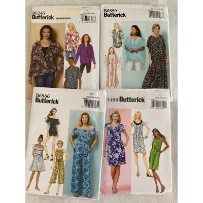 Remnant - 4 x Butterick Sewing Patterns - DY (Xsm-Sml-Med) - End of Line