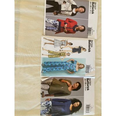 Remnant - 3 x Butterick Sewing Pattern - ZZ- size Lrg - Xlg - Xxl - End of Line