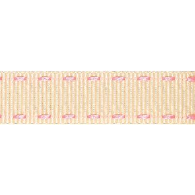 15mm Berisfords Pink and Ivory Stitched Edge Grosgrain Ribbon 3m