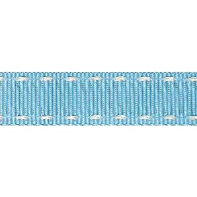 15mm Stitched Grosgrain Sky / Ivory Ribbon 4m Reel