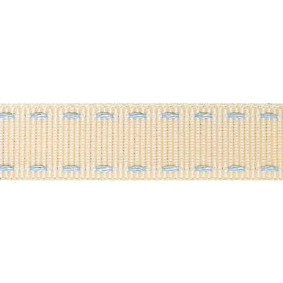 15mm Stitched Grosgrain Ivory / Sky Ribbon 4m Reel