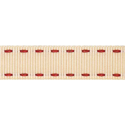 15mm Stitched Grosgrain Ivory / Red Ribbon 4m Reel