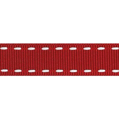 15mm Stitched Grosgrain Red / White Ribbon 4m Reel