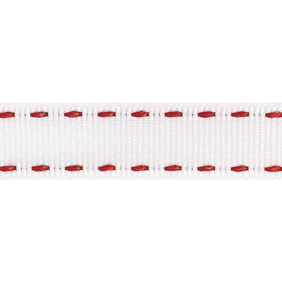 15mm Stitched Grosgrain White / Red Ribbon 4m Reel