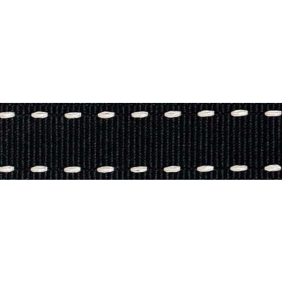 15mm Stitched Grosgrain Black / Ivory Ribbon 4m Reel