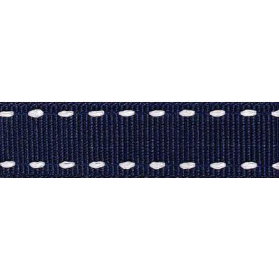 15mm Stitched Grosgrain Navy / White Ribbon 4m Reel