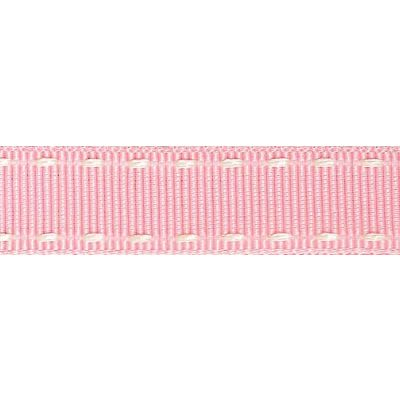 15mm Stitched Grosgrain Pink / Ivory Ribbon 4m Reel